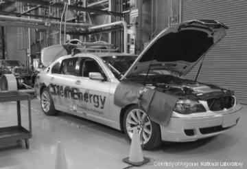 Innovation: BMW hydrogen 7 mono fuel vehicle parked prior to emissions testing